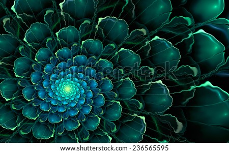 Abstract fractal background, cyan-green spiral flower with glowing blue core - stock photo