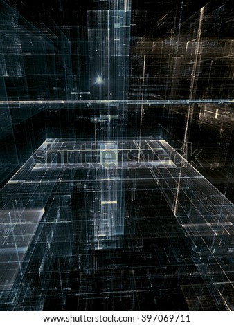 Abstract fractal background - digitally generated image with glass walls, leaving the horizon, rectangles and light effects - stock photo