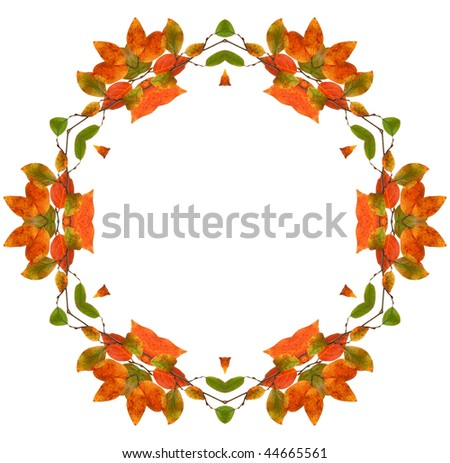 Abstract fractal background frame (made from colorful autumn leaves) - stock photo