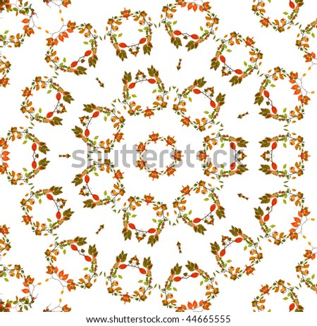 Abstract fractal background (made from colorful autumn leaves) - stock photo