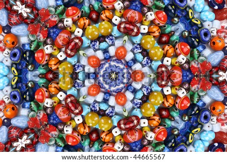 Abstract fractal background (made from colorful beads) - stock photo
