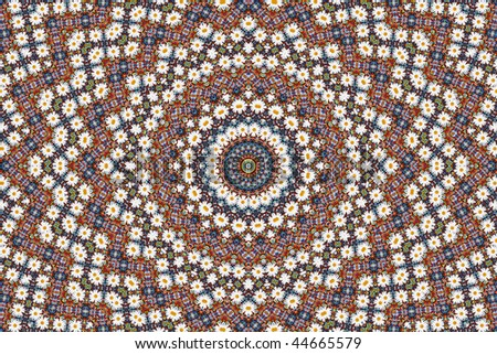 Abstract fractal background (made from colorful beads and camomiles) - stock photo