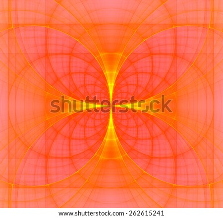 Abstract fractal background made out of bright pastel interconnected arches and circles creating a detailed flower-like geometric cross, all in high resolution and in yellow,orange,red - stock photo