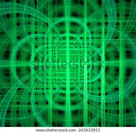 Abstract fractal background made out of glowing interconnected arches and circles behind a grid creating a detailed geometric structure against black color, all in high resolution and in green - stock photo