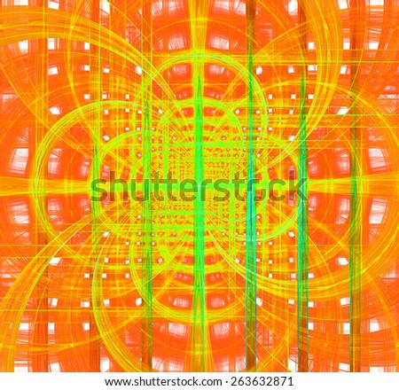 Abstract fractal background made out of glowing vivid interconnected arches and circles behind a grid creating a detailed geometric structure, all in high resolution and in yellow,green,orange - stock photo