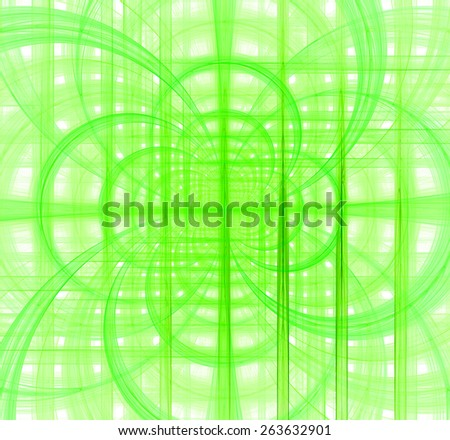 Abstract fractal background made out of pastel interconnected arches and circles behind a grid creating a detailed geometric structure against white color, all in high resolution and in green - stock photo