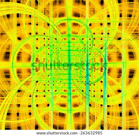 Abstract fractal background made out of vivid interconnected arches and circles behind a grid creating a detailed geometric structure, all in high resolution and in yellow,green,blue - stock photo