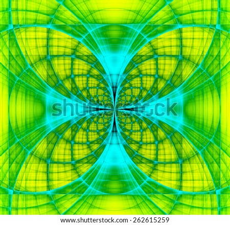 Abstract fractal background made out of vivid interconnected arches and circles creating a detailed flower-like geometric cross, all in high resolution and in green,yellow,teal - stock photo