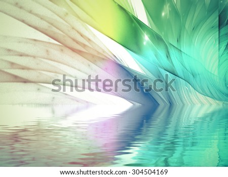 abstract fractal background on the black for art projects  with water reflection - stock photo