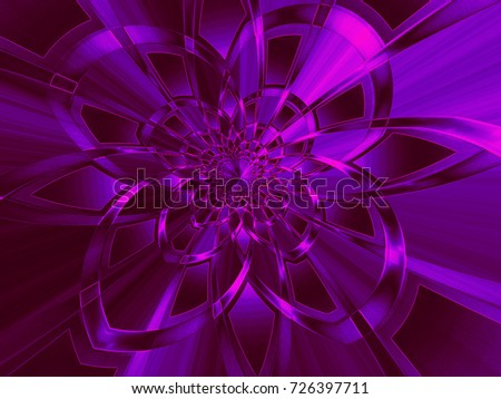 Abstract fractal background Purple flower of ribbons on lilac computer image. Beautiful abstract background for wallpaper, album, poster, booklet. Fractal digital graphics for creative graphic design.