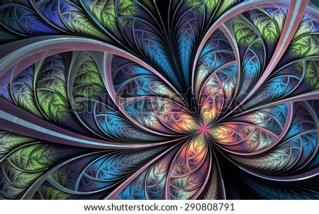 Abstract fractal background, rainbow-colored mosaic pattern with curved stripes - stock photo