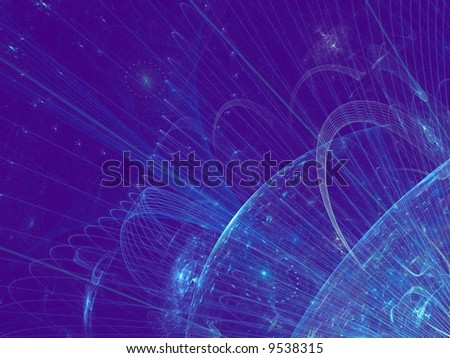 Abstract fractal background resembling space and planets - stock photo