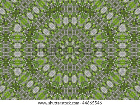 Abstract fractal background  (soft green leaves mosaic) - stock photo