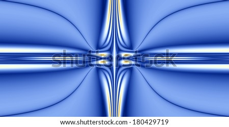 Abstract fractal background with a detailed balanced wavy texture connected to a central decorative star pattern in blue color