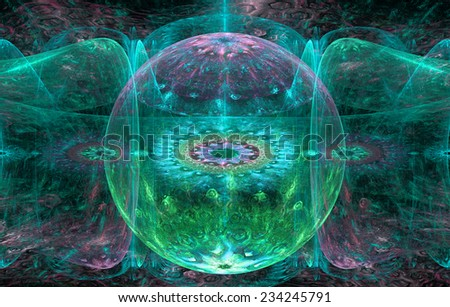 Abstract fractal background with a detailed decorative ball in the center surrounded and decorated by star/flower-like pattern and hexagonal discs, all in pink,cyan,green - stock photo