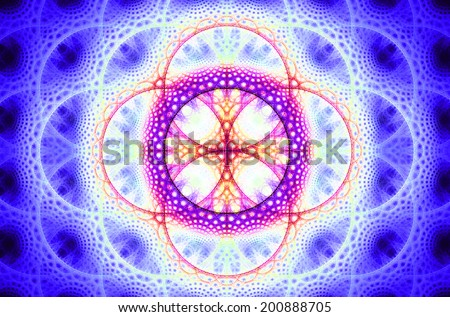 Abstract fractal background with a detailed decorative flower of life pattern in high resolution in shining purple, pink and orange colors against black color - stock photo