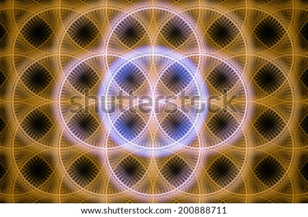 Abstract fractal background with a detailed decorative flower of life pattern in high resolution in shining orange, pink and purple colors against black color - stock photo