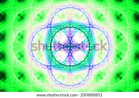 Abstract fractal background with a detailed decorative flower of life pattern in high resolution in shining green, pink and cyan colors against black color - stock photo