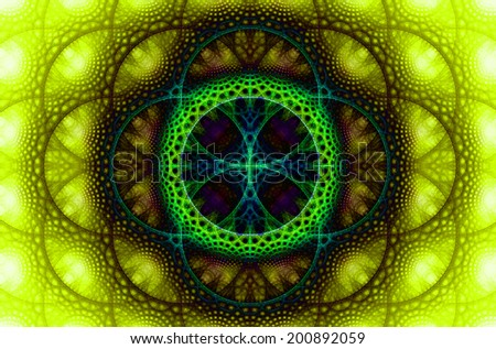 Abstract fractal background with a detailed decorative flower of life pattern in high resolution in dark yellow, green, blue and pink colors against white color - stock photo