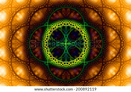 Abstract fractal background with a detailed decorative flower of life pattern in high resolution in dark orange, red, yellow and green colors against white color - stock photo