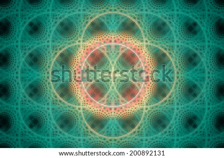 Abstract fractal background with a detailed decorative flower of life pattern in high resolution in shining cyan and pink colors against black color - stock photo