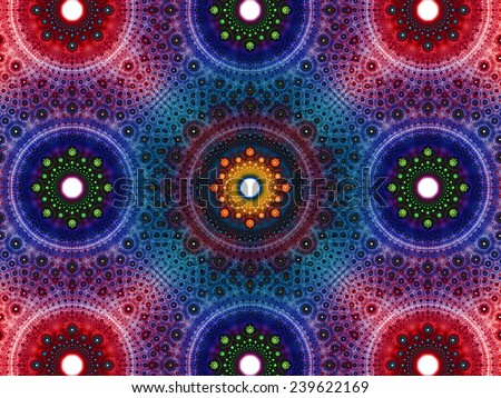 Abstract fractal background with a detailed decorative flower pattern with vortex like infinite decoration in high resolution in dark pink,purple,blue,green,yellow colors against white color - stock photo