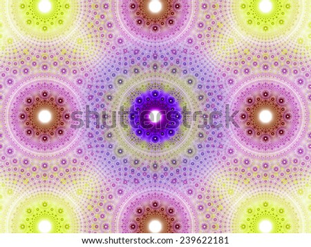 Abstract fractal background with a detailed decorative flower pattern with vortex like infinite decoration in high resolution in light yellow,pink,purple colors against white color - stock photo
