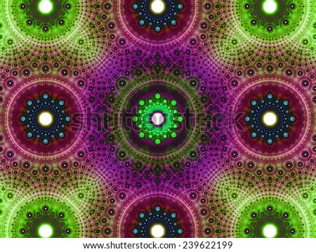 Abstract fractal background with a detailed decorative flower pattern with vortex like infinite decoration in high resolution in dark green,pink,purple,blue colors against white color - stock photo