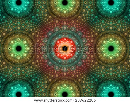 Abstract fractal background with a detailed decorative flower pattern with vortex like infinite decoration in high resolution in cyan,green,orange colors against black color - stock photo