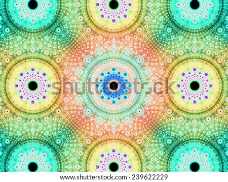 Abstract fractal background with a detailed decorative flower pattern with vortex like infinite decoration in high resolution in bright cyan,yellow,green,orange colors against black color - stock photo