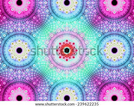 Abstract fractal background with a detailed decorative flower pattern with vortex like infinite decoration in high resolution in bright pink,blue,cyan,yellow colors against black color - stock photo