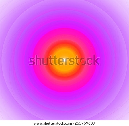 Abstract fractal background with a pattern of large rings and glowing central disc, in high resolution and in vivid orange and red and light pink - stock photo