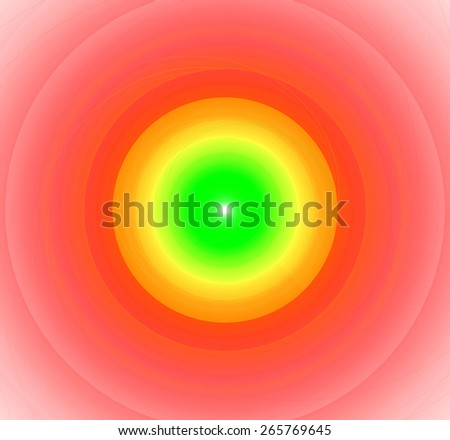 Abstract fractal background with a pattern of large rings and glowing central disc, in high resolution and in vivid green and light yellow and red - stock photo
