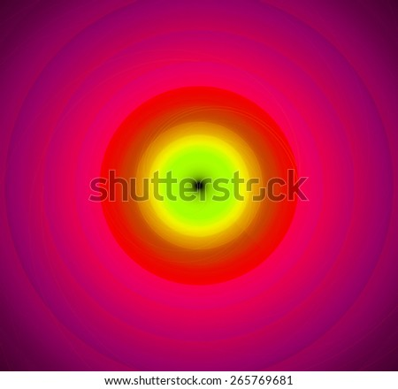 Abstract fractal background with a pattern of large rings and glowing central disc, in high resolution and in vivid green,yellow,red,pink - stock photo