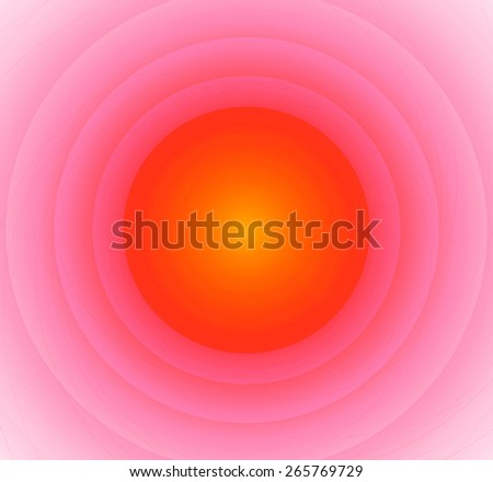 Abstract fractal background with a pattern of large rings and glowing central disc, in high resolution and light yellow and red - stock photo