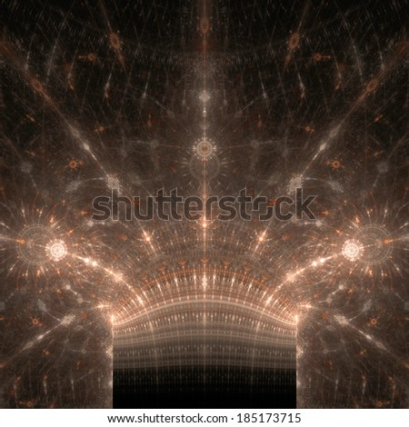 Abstract fractal background with three pillars with abstract stars on top of them in brown color and high resolution