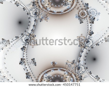 Abstract fractal clockwork watch, digital artwork for creative graphic design