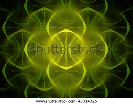 Abstract Fractal Design of Spiritual Glow in Yellow and Green on Black - stock photo