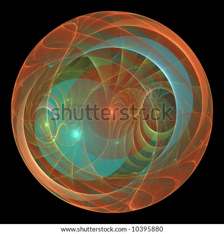 Abstract fractal design resembling glass or plastic bubbles within a sphere - stock photo