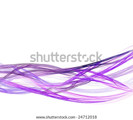 Abstract fractal design with 3D flowing strands over white. - stock photo