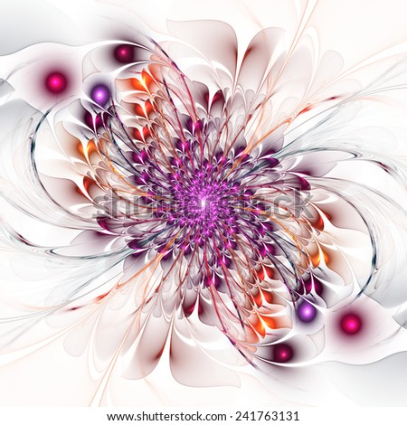 Abstract fractal floral spiral on white background - stock photo