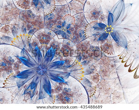 Abstract fractal flower garden, digital artwork for creative graphic design