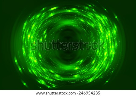 Abstract fractal green background with crossing circles and ovals. disco lights background. - stock photo