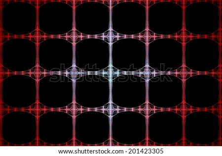 Abstract fractal grid background with a detailed pattern of interconnected medium pillars in red, pink and cyan colors and against black color