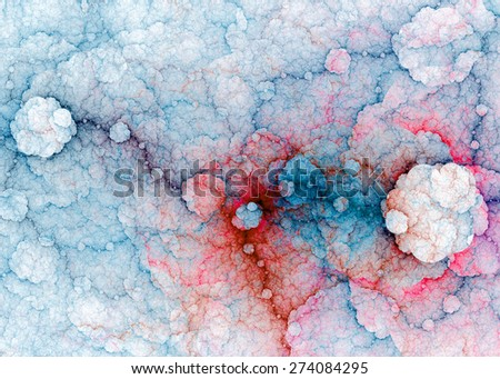 Abstract fractal high resolution background with a detailed lightning pattern creating interconnected discs, all in high resolution and in pastel blue,red,pink colors - stock photo