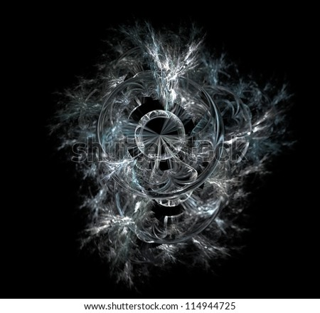 Abstract fractal illustration of a sphere with a trail of smoke behind. - stock photo