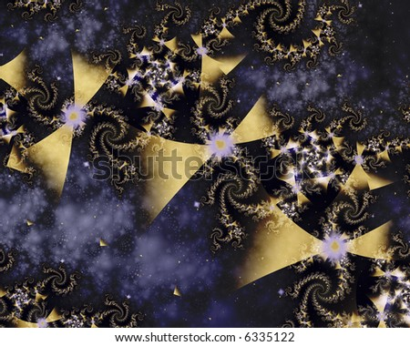 Abstract fractal image of kites and spirals in space. - stock photo