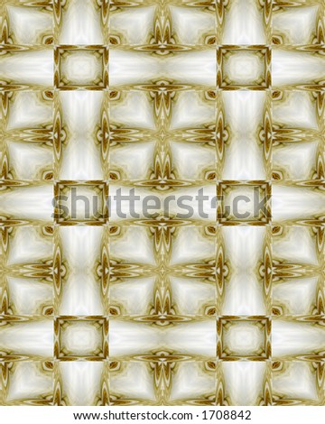 Abstract fractal image resembling formal medallion wallpaper in white and gold - stock photo