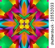 Abstract fractal kaleidoscope in bright colors. - stock photo