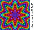 Abstract fractal kaleidoscope in rainbow colors. - stock photo